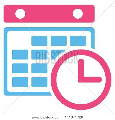 Timetable vector icon. Style is bicolor flat symbol, pink and blue colors, rounded angles, white background.