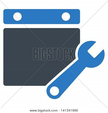 Binder Tuning vector icon. Style is bicolor flat symbol, smooth blue colors, rounded angles, white background.