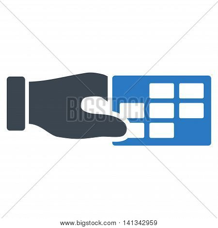 Timetable Properties vector icon. Style is bicolor flat symbol, smooth blue colors, rounded angles, white background.