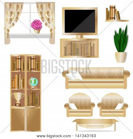 Set of living room furniture, wardrobe, curtains, Desk, chair, sofa, pillow, plant, globe, Cup, book, TV, vector illustration