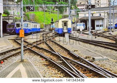 One meter gauge railway station. Montreux. Switzerland.