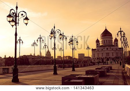 Christ the Savior Church in Moscow Russia. Evening sky.