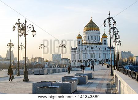 MOSCOW - MARCH 12, 2013: Christ the Savior Church in Moscow Russia. Famous landmark.