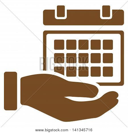 Service Timetable vector icon. Style is flat symbol, brown color, rounded angles, white background.
