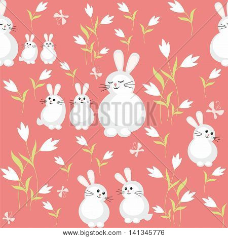 Colorful children's seamless pattern in cartoon style with the image of the rabbit and the little rabbits