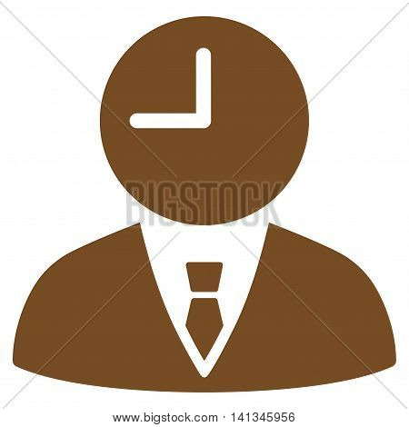 Time Manager vector icon. Style is flat symbol, brown color, rounded angles, white background.