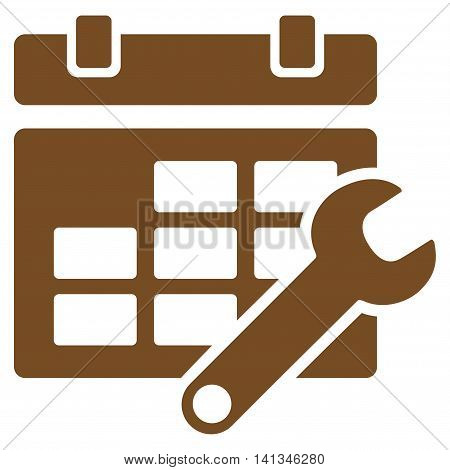Timetable Options vector icon. Style is flat symbol, brown color, rounded angles, white background.
