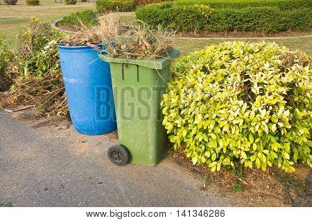 blue and green bins Recycling bins Public trash