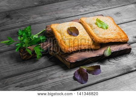Italian hot crispy toasted panini sandwiches closed on a cutting board lettuce parsley on gray wooden background