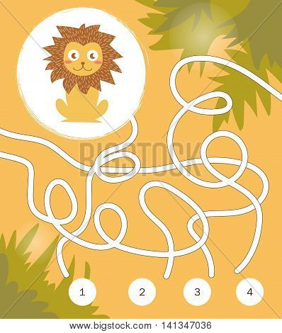 Find a way. Game for kids. Labyrinth. Cartoon illustration, flat style. Vector illustration on yellow background. Children's illustration, lion