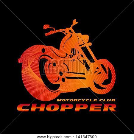 Orange Chopper motorcycle club logo (line blend art style) vector design