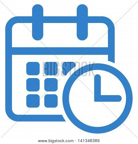 Timetable vector icon. Style is flat symbol, cobalt color, rounded angles, white background.