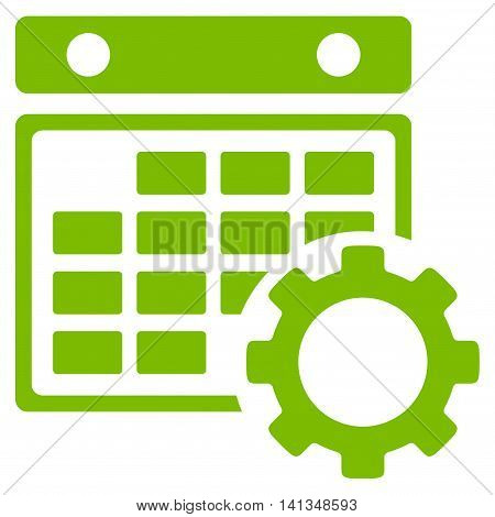 Calendar Setup vector icon. Style is flat symbol, eco green color, rounded angles, white background.