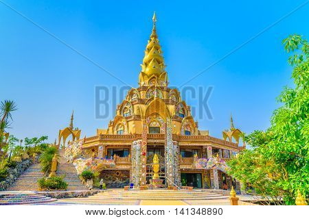 The pagoda in Wat Phra That Pha Son Kaew Temple at Phetchabun, Thailand.