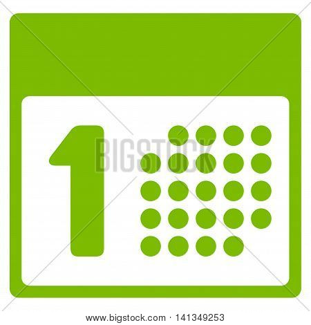 First Day vector icon. Style is flat symbol, eco green color, rounded angles, white background.