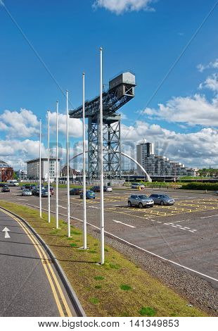 Finnieston Cranel in Cyderport in Glasgow. Glasgow is the city in the Lowlands in Scotland in the United Kingdom.