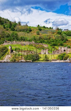 Ruins Of The Urquhart Castle In Loch Ness Scotland