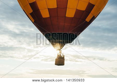Hot air balloon flying in the air