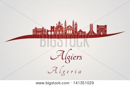 Algiers skyline in red and gray background in editable vector file