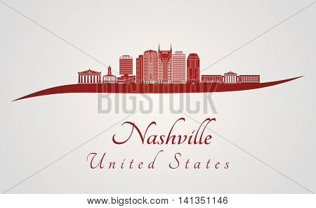 Nashville skyline in red and gray background in editable vector file