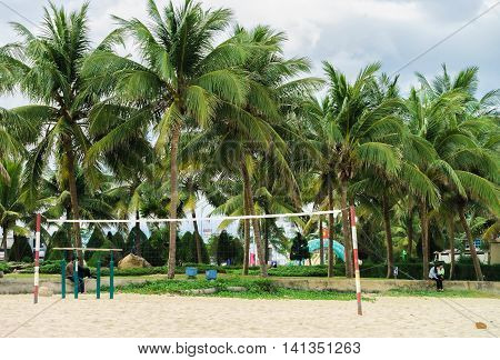 Net For Playing Volleyball At The China Beach In Danang