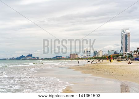 Tourists And The China Beach In Danang In Vietnam