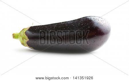 dewy fresh eggplant isolated on white background