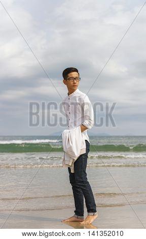 Young Fellow In China Beach In Danang In Vietnam