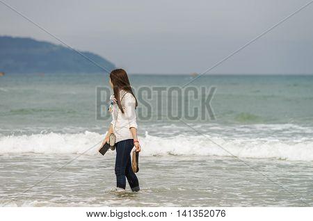 Young Girl In China Beach In Danang In Vietnam