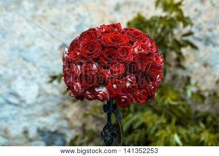 Floral Decoration Of Red Roses
