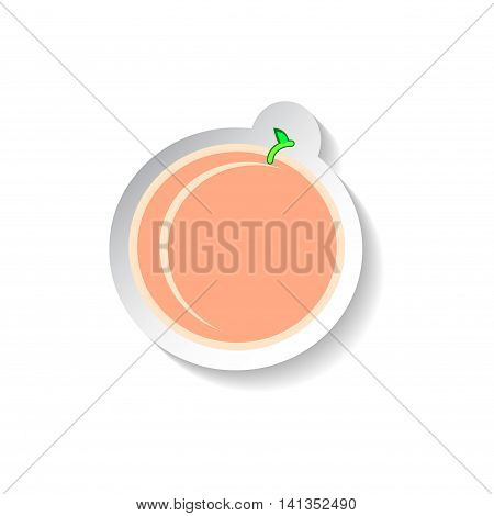 Peach vector illustration isolated on white background. Flat style fruit with shadow. Garden fruit peach patch. Peach sticker style square image. Summer fruit harvest. Minimal style pink peach