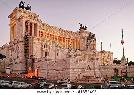 Victor Emmanuel In Piazza Venezia In Rome Italy