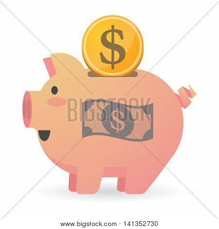 Isolated Piggy Bank Icon With A Dollar Bank Note
