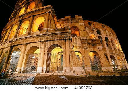 Colosseum In City Center Of Rome Italy At Night