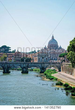 Dome Of Saint Peter Basilica And Ponte Sant Angelo