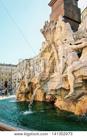 Fountain Of Neptune And Fountain Of Four Rivers In Rome
