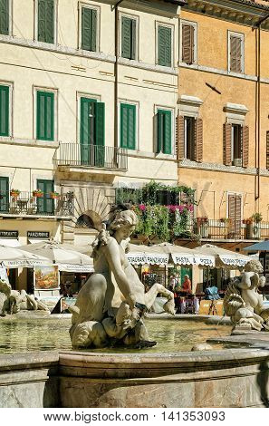 Fountain Of Neptune In Piazza Navona In Rome In Italy