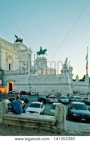 Monument Of Victor Emmanuel In Piazza Venezia In Rome Italy