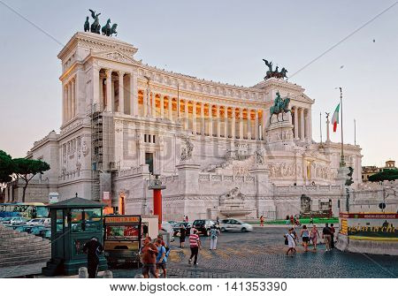 Monument Of Victor Emmanuel In Piazza Venezia In Rome Evening