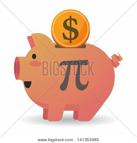 Isolated Piggy Bank Icon With The Number Pi Symbol