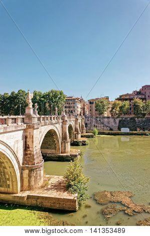 Ponte Sant Angelo Bridge In Rome Of Italy