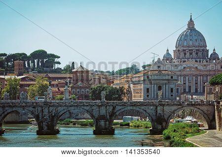 Saint Peter Basilica Dome And Ponte Sant Angelo Bridge