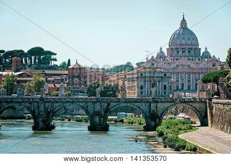 Saint Peter Basilica Dome And Ponte Sant Angelo