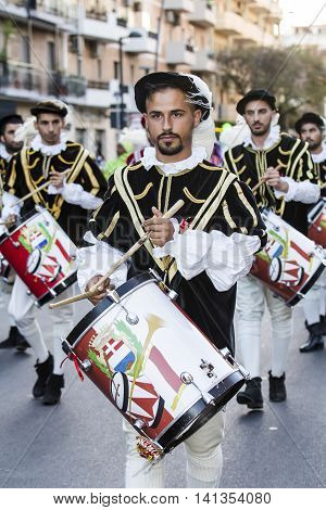 QUARTU S.E., ITALY - July 15, 2016: 30 ^ Sciampitta - International Folklore Festival - Drummers and trumpeters of Oristano - Sardinia