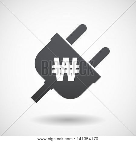Isolated Male Plug With A Won Currency Sign