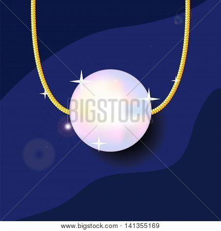 Pearl bead on golden chain vector illustration on blue background. Precious jewelry drawing with place for text. Gold pearl pendant with shadow picture. Realistic single pearl jewellery image