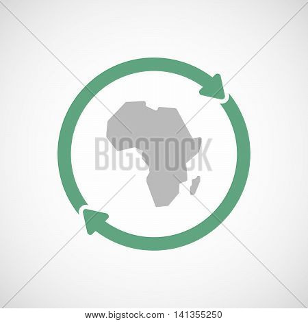 Isolated Reuse Icon With  A Map Of The African Continent