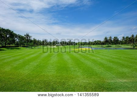 Land Scape Wide green lawns and a blue sky golf courses.