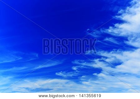 Beautiful blue sky with clouds in summer day.