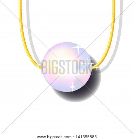 Pearl bead on golden chain vector illustration on white background. Precious jewelry drawing with place for text. Gold pearl pendant with shadow picture. Realistic single pearl jewellery image